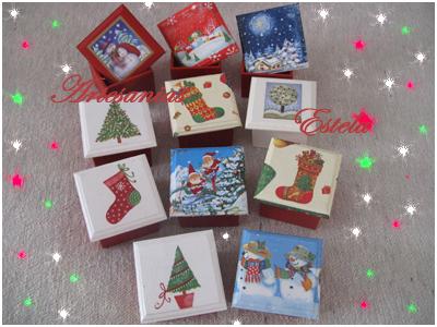 Cajas de madera para bombones decoradas con motivos navideños
