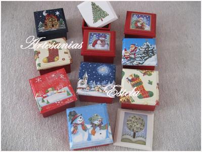 Cajas de madera para bombones decoradas con motivos for Manualidades souvenirs navidenos
