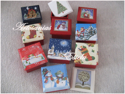 Cajas De Madera Pintadas A Mano Con Diseños Navideños