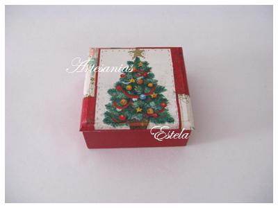 Cajas de madera decoradas con decoupage para navidad para bombones