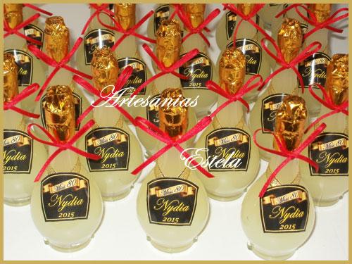 Souvenirs 80 Años - Botellitas De Licor Personalizadas