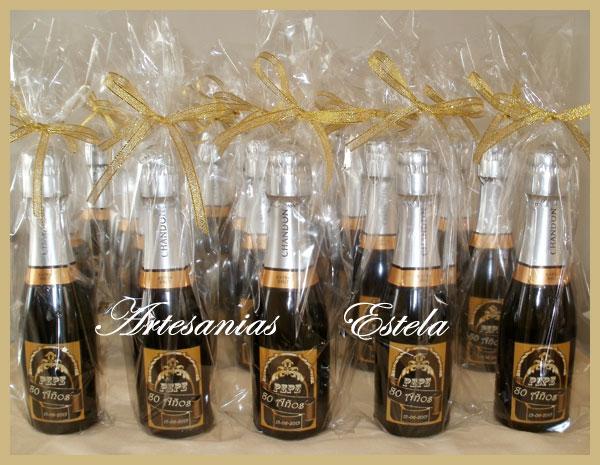 Souvenirs Botellitas De Champagne Personalizadas.1   Souvenirs Para Cumpleaños de Adultos   80 Años