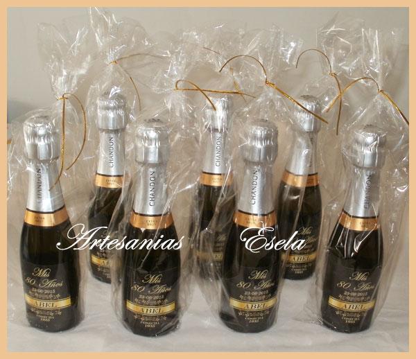 Souvenirs Botellitas De Champagne Personalizadas   Souvenirs Para Cumpleaños de Adultos   80 Años