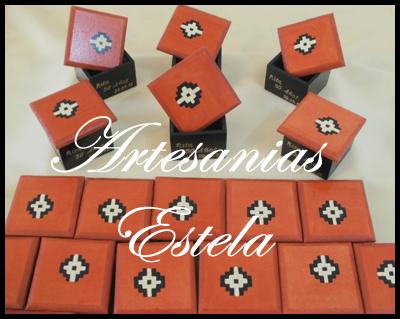 Cajitas de madera fibrofacil decoradas para souvenirs con guarda pintada a mano