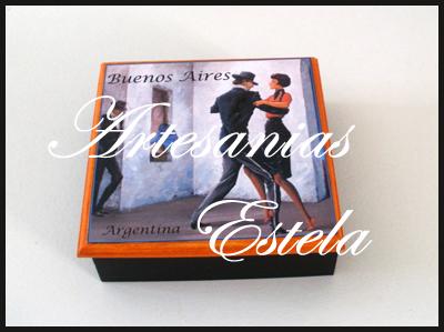 Cajitas de madera fibrofacil decoradas para souvenirs con pareja de tango