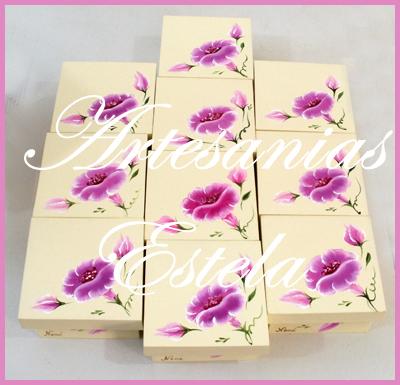 Cajitas de madera fibrofacil decoradas para souvenirs flores pintadas a mano