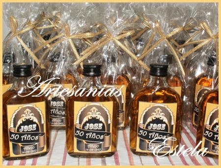 Souvenirs Botellitas De Whisky Personalizadas.2   Souvenirs Y Maquetas Para Cumpleaños De 50 Años