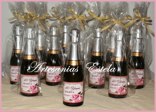 Souvenirs Cumpleaños Botellitas De Champagne Personalizadas   Souvenirs Para Cumpleaños Adultos