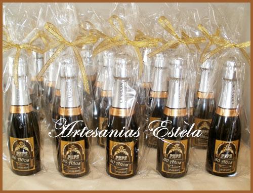 Souyvenirs Cumpleaños Botellitas De Champagne   Souvenirs Para Cumpleaños Adultos