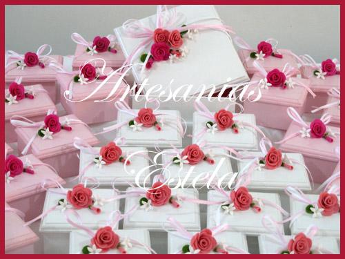 Cajas Decoradas con Flores De Porcelana A   Souvenirs De Casamientos / Bodas