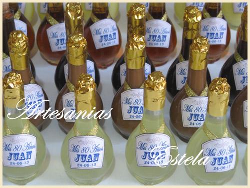 Souvenirs Botelitas De Licor Personalizadas   Souvenirs Cumpleaños 80 Años