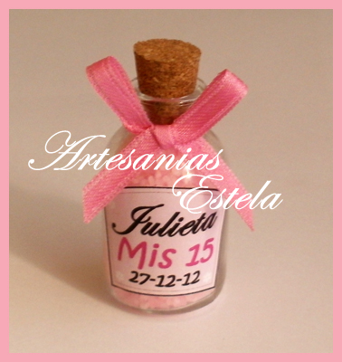 Souvenirs botelitas con sales de baño Souvenirs de 15 Años   Souvenirs De 15 Años