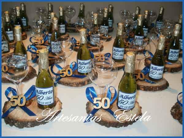 Souvenirs 50 Años - Mini Botellitas De Champagne Personalizadas