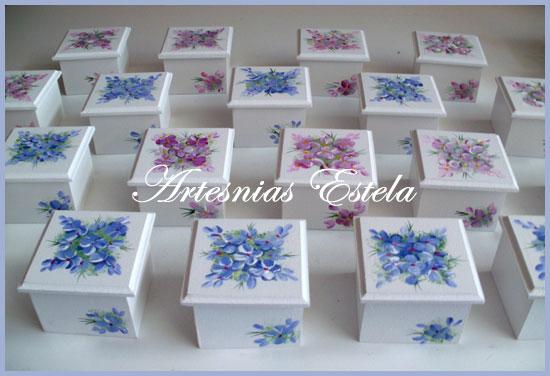 Souvenirs Cumpleaños 50-Cajitas Con Flores Pintadas